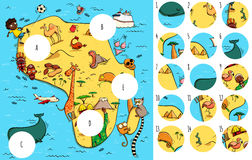 Find missing pieces, solution in hidden layer. Geography Visual Game: Africa. Task: Find missing pieces. Illustration is in eps10 vector mode, solution in hidden Stock Photos
