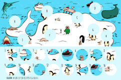 Find missing pieces, solution in hidden layer. Geography Visual Game: Antarctica. Task: Find missing pieces. Illustration is in eps10 vector mode, solution in Stock Photos