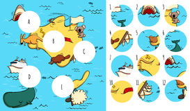 Find missing pieces, solution in hidden layer. Geography Visual Game: Australia. Task: Find missing pieces. Illustration is in eps10 vector mode, solution in Royalty Free Stock Photos