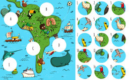 Find missing pieces, solution in hidden layer. Geography Visual Game: South America. Task: Find missing pieces. Illustration is in eps10 vector mode, solution in Stock Image