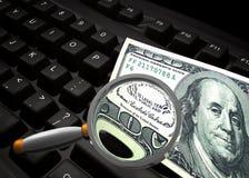 Find money on the internet symbol. Find money on the internet keyboard symbol 3d render Stock Images