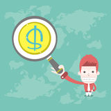Find money. Vector cartoon business Royalty Free Stock Image
