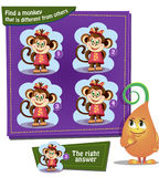 Find a monkey. Visual Game for children. Task: find a monkey that is different from others Royalty Free Stock Image