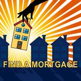 Find A Mortgage Means Loan Search 3d Illustration. Find A Mortgage House Means Loan Search 3d Illustration Stock Photos