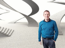 Find my way. Smiling man and 3d stair Royalty Free Stock Photography