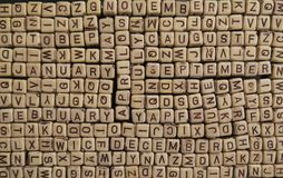 The names of the months composed of cubes with letters hidden in royalty free stock images