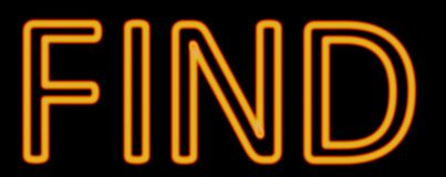 Find neon sign. Abstract 3d rendered words find orange neon sign on black background Stock Photos
