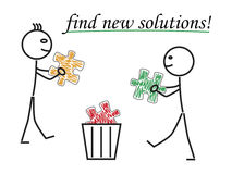 Find new solutions. Stickman with orange and green jigsaw puzzle piece Stock Photography