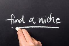 Find a niche. Hand underline Find a Niche word on chalkboard Royalty Free Stock Photos