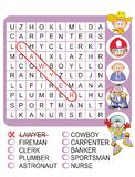 Find the nine professions - Word search game. Word search game for children's: Find the nine professions, hidden within the word search grid Royalty Free Stock Image