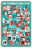 Find the numbers. Visual game for children. Find the numbers from 1 to 100 Stock Photo