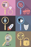 Find objects. Many different colors of icons for design Royalty Free Stock Image