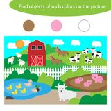 Find objects of same colors, farm animals, game for children in cartoon style, education game for kids, preschool worksheet