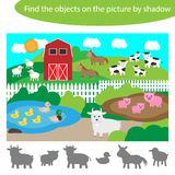 Find the objects by shadow, game for children farm with animals cartoon style, education game for kids, preschool worksheet