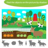 Find the objects by shadow, game for children farm animals and garden cartoon, education game for kids, preschool worksheet