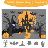 Find the objects by shadow, game with halloween theme for children in cartoon, education game for kids, preschool worksheet. Activity, task for the development royalty free illustration