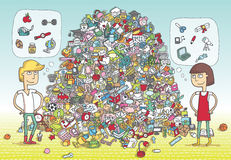 Find Objects Visual Game. Solution in hidden layer! stock illustration