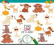 Find one dog of a kind game for children. Cartoon Illustration of Find One of a Kind Educational Activity Game for Kids with Dogs or Puppies Characters Stock Photo