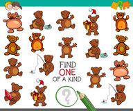 Find one of a kind activity with bears. Cartoon Illustration of Find One of a Kind Educational Activity for Children with Teddy Bear Characters Royalty Free Stock Photo