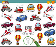 Find one of a kind activity. Cartoon Illustration of Find One of a Kind Educational Activity for Children with Transportation Vehicle Characters Royalty Free Stock Images