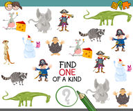 Find one of a kind activity game. Cartoon Illustration of Educational Game of Finding One of a Kind for Children Stock Images