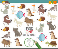Find one of a kind with animal characters. Cartoon Illustration of Find One of a Kind Educational Game for Children with Animal Characters Stock Image