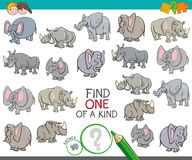 Find one of a kind with animal characters. Cartoon Illustration of Find One of a Kind Picture Educational Activity Game for Children with Elephant and Rhino Stock Photography