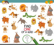 Find one of a kind with animals. Cartoon Illustration of Find One of a Kind Educational Activity Game for Preschool Kids with Cute Animal Characters Royalty Free Stock Image