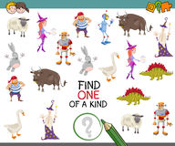 Find one of a kind. Cartoon Illustration of Educational Activity of Find One of a Kind Game for Preschool Children Royalty Free Stock Photo