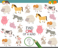 Find one of a kind for children. Cartoon Illustration of Find One of a Kind Educational Activity Game for Kids with Farm Animal Characters Stock Image