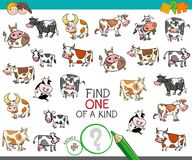 Find one of a kind with cow characters. Cartoon Illustration of Find One of a Kind Picture Educational Activity Game for Children with Cow Characters Stock Photos