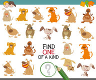 Find one of a kind dog character. Cartoon Illustration of Find One of a Kind Educational Activity Game for Preschool Kids with Dog Characters Royalty Free Stock Photos