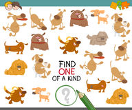 Find one of a kind with dogs. Cartoon Illustration of Find One of a Kind Educational Activity Game for Preschool Kids with Dogs Royalty Free Stock Photos