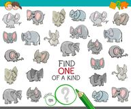 Find one of a kind with elephant characters. Cartoon Illustration of Find One of a Kind Picture Educational Activity Game for Children with Elephant Characters Royalty Free Stock Photo