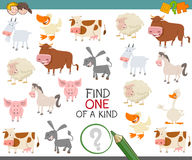 Find one of a kind of farm animals. Cartoon Illustration of Find One of a Kind Educational Activity for Children with Animal Farm Characters Stock Images
