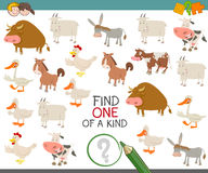 Find one of a kind with farm animals. Cartoon Illustration of Find One of a Kind Educational Activity Game for Children with Farm Animal Characters Stock Image
