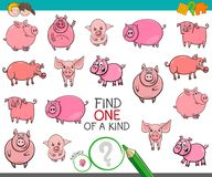 Find one of a kind with funny pig characters. Cartoon Illustration of Find One of a Kind Picture Educational Activity Game for Children with Pig Animal Royalty Free Stock Photography