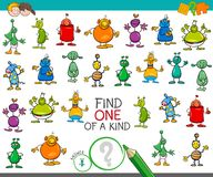 Find one of a kind game with aliens characters. Cartoon Illustration of Find One of a Kind Educational Activity Game for Children with Aliens Fantasy Characters Stock Images