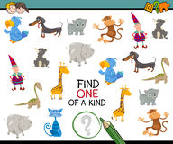 Find one of a kind game. Cartoon Illustration of Educational Activity of Finding One of a Kind for Kids Royalty Free Stock Image