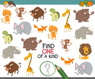 Find one of a kind game. Cartoon Illustration of Find One of a Kind Educational Activity Game for Preschool Children with Animals Royalty Free Stock Photos