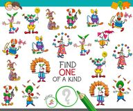 Find one of a kind game with clown characters. Cartoon Illustration of Find One of a Kind Picture Educational Activity Game for Children with Clown Characters Royalty Free Stock Image