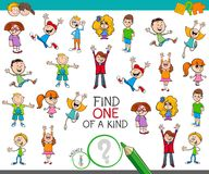 Find one of a kind game with happy children. Cartoon Illustration of Find One of a Kind Picture Educational Activity Game for Children with Kid Characters stock illustration