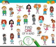 Find one of a kind game with kid characters. Cartoon Illustration of Find One of a Kind Picture Educational Activity Game for Children with Boys and Girls Stock Image