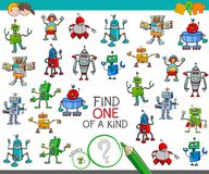 Find one of a kind game with robot characters. Cartoon Illustration of Find One of a Kind Educational Activity Game for Children with Robots Science Fiction Royalty Free Stock Photography