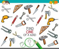 Find one of a kind game with tools. Cartoon Illustration of Find One of a Kind Picture Educational Activity Game for Children with Tools Objects Royalty Free Stock Image