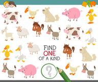 Find one of a kind for kids. Cartoon Illustration of Find One of a Kind Educational Game for Children with Farm Animal Characters Stock Images