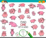 Find one of a kind with pigs animal characters. Cartoon Illustration of Find One of a Kind Picture Educational Activity Game for Children with Pig and Piglet Stock Photos