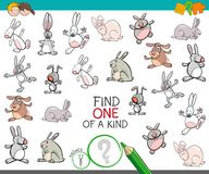 Find one of a kind with rabbits animal characters. Cartoon Illustration of Find One of a Kind Picture Educational Activity Game for Children with Rabbits Animal Royalty Free Stock Photo