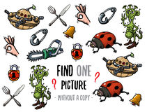 Find one picture educational game. Find one picture without a copy. Educational game for children with cartoon characters Stock Image