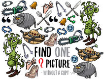 Find one picture educational game. Find one picture without a copy. Educational game for children with cartoon characters Royalty Free Stock Photos